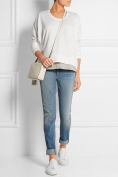 T BY ALEXANDER WANG Modal-blend sweatshirt FRAME DENIM Le Classic Supima cotton-jersey T-shirt ALEXANDER WANG Wang 001 high-rise skinny jeans ISABEL MARANT Stef leather and suede belt COMMON PROJECTS Original Achilles leather sneakers MARC BY MARC JACOBS Luna studded leather shoulder bag