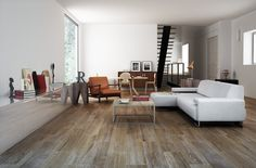 Get vanguard and actual #interiors combining dark #ceramic wood floors and white painted #walls. Rovere natural by Gayafores.