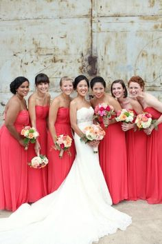 Watermelon colored strapless bridesmaids dresses | photography by http://www.whiteboxweddings.com/