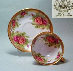 Occupied Japan  Lovely cup and saucer set,  marked HINODE CHINA. Lots of gold and looks gorgeous.  Shoko Tanaka Collection