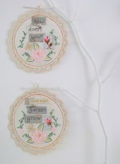 embroidery hoops hanging on tree