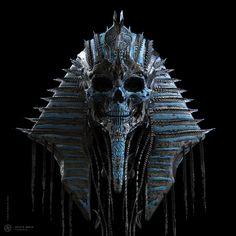 Death Mask – concept art by Furio Tedeschi Fantasy Sketch, Foto Fantasy, Dark Fantasy Art, Dark Art, Egyptian Mythology, Ancient Egyptian Art, Egyptian Mask, Arte Horror, Horror Art