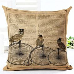 New Arrival Throw Pillow Cushion Home Decor Couch Newspaper With Owl Printed Linen Cuscino Square Cojines Almohadas Rustic Decorative Pillows, Decorative Pillow Cases, Throw Pillow Cases, Pillow Covers, Throw Pillows, Vintage Newspaper, Couch Cushions, Sofa, Printed Linen