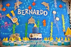 Usando a Cachola: Aniversário Fundo do Mar 1st Birthdays, 1st Birthday Parties, Dragon Baby Shower, Baby Birthday Decorations, Ocean Party, Party Activities, Baby Party, Bernardo, Baby Shark
