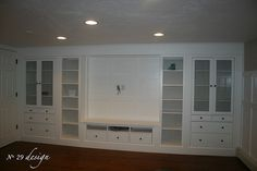 "wall built ins | Hemnes 2 glass doors cabinet, 1 tv bench 58 5/8 ""x 18 1/2 ""x 22 1/2 ..."
