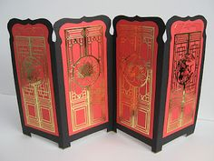 Oriental screen card...nifty idea for doll screen; find nice print, resize to fit panels (single scene broekn up across panels or repeat motif), print/cut out, glue on cardstock you' ve cut N creased - kj)