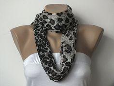 Pashmina Scarf  Leopard Print Scarf  Grey  Black by cocoshwoman, $20.00