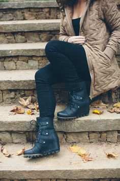We're in love with this season's Sorel booties. These wedge boots allow you to look long and lean while still having appropriate footwear for whatever weather you may encounter.