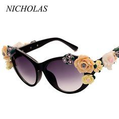 812cb80b0 NICHOLAS Retro Rose Sunglasses Women Beach Holiday Baroque flowers Sun  glasses Women Oculos De Sol Feminino