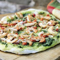 Tired of the same old, same old? Then try this delicious grilled pizza. Fresh shrimp and sautéed veggies all atop a pesto sauce make for great flavor and a unique slice of pie.