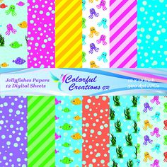 Jellyfishes Set Digital Papers For Personal And Commercial Use