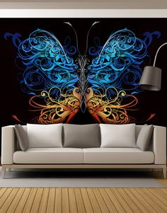 Large Swirl Butterfly Wall Graphic Mural #6024 | Stickerbrand wall art decals, wall graphics and wall murals.
