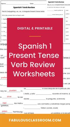 Do your students need some extra practice conjugating present tense regular and irregular Spanish verbs (including stem-changing verbs)? Maybe a back-to-school refresher at the start of Spanish II? These printable and digital worksheets are the perfect easy way to review -AR, -ER, and -IR verbs. Just print and go OR you can assign the ready-to-go Easel activity and have students complete this as a digital activity! Spanish Teaching Resources, Teacher Resources, Homeschooling Resources, Spanish Lesson Plans, Spanish Lessons, Present Tense Verbs, Lesson Plan Templates, Class Activities, Teaching French