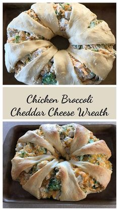 If you can pop open a can of crescent roll dairy dough and pile on toppings then this is for you. In under 30 minutes you can be serving a nutritional and warm dinner to the family. Broccoli Cheddar, Chicken Broccoli, Cheddar Cheese, Cheese Bread, Pampered Chef Recipes, Cooking Recipes, Pampered Chef Ring Recipe, Cooking Kale, Cooking Fish