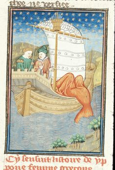 Le livre de femmes nobles et renomées, Giovanni Boccaccio. c. 1440 - Detail of a miniature of Ypone drowning herself from a ship.