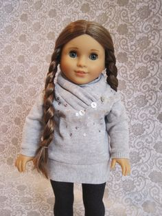 American Girl 18 inch Gray Cowl Neck Sweater with sequins. $12.50, via Etsy.