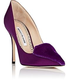 """Manolo Blahnik """"Elatiamod Pump"""" in purple satin, featuring a velvet vamp, a pointed toe and a high wrapped stiletto heel 
