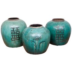 Chinese Green Glazed Ceramic Jars, 19th Century | From a unique collection of antique and modern ceramics at https://www.1stdibs.com/furniture/asian-art-furniture/ceramics/