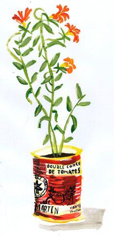 Plant Pot print - Orange Flowers. A4 Art print. By Rob Mason.. £12.00, via Etsy.