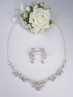 Schmuckset Collier Ohrringe Strass Silber Brautschmuck Hochzeit Wedding Jewelry, Jewelery, Pearl Necklace, Pearls, Beauty, Material, Necklaces, Wedding Ideas, Diy Kid Jewelry