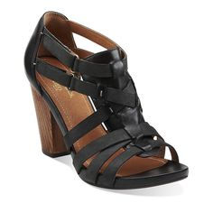Rosa Hyde in Black Leather - Womens Sandals from Clarks
