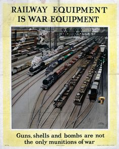 'Railway Equipment is War Equipment', World War II poster, 1943.,  Poster produced during World War II to remind people that the railways were as indispensible to the war effort as guns, shells and bombs. Pasengers had to be patient during wartime when trains were fewer in frequency and often delayed and crowded. Artwork by Fred Taylor (1875-1963), jul16