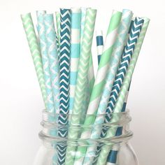 Mint Navy Blue Baby Shower Straws: Our boutique party straws are 7 3/4 inches long, food-safe, durable, eco-friendly and perfect for your special little boy all swaddled in blue. |twigsandtwirls.com|