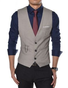 (SVE) TheLees Mens slim fit chain point 3 button vest Beige X-Large Mens Suit Vest, Mens Suits, Chaleco Casual, Gilet Costume, Men's Waistcoat, Corporate Outfits, Vest Outfits, Men Formal, Groom Attire