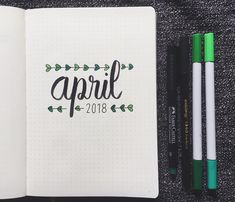 Bullet journal monthly cover page, April cover page, hand lettering, plant doodle. | @theproductivitybook