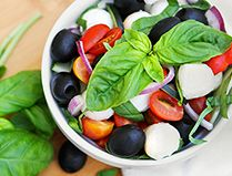 Ready in less than 10 minutes! This simple Fresh Mozzarella Salad is the perfect compliment to any dish. Go ahead and give this delicious Mozzarella Salad recipe today! Olive Recipes, Veggie Recipes, Soup Recipes, Salad Recipes, Vegetarian Recipes, Cooking Recipes, Cucumbers And Onions, Salad Sauce