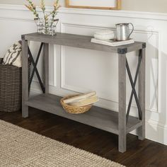 Modern Farmhouse Gray Wash Console Table With this entry table, you'll have a stylish entryway in no Rustic Console Tables, Entry Tables, Sofa Tables, Narrow Entry Table, Hallway Tables, Entrance Table, Modern Entry Table, Patio Tables, Small Entrance