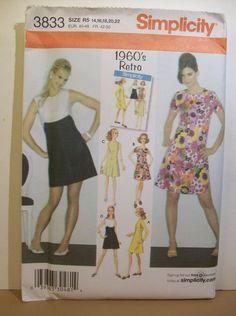 1960's Retro Simplicity Pattern 3833 Misses Dress Sz R5 (14-22) Uncut   #Simplicity