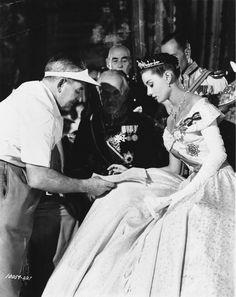Audrey Hepburn & director William Wyler on the set of Roman Holiday, 1953.