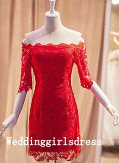 Sheath/Column Custom Off-shoulder Red Lace Long Sleeves Prom Dress Evening Dress Wedding Dress Bridesmaid Dress Formal Dress Cocktail Dress on Etsy, $159.00