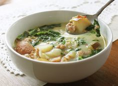 Potato and Sausage Soup. can't wait for the cold weather, I am so making this soup!!