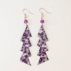 Boucles d'oreilles zigzag violettes en papier origami de la boutique LatelierdIsabo sur Etsy