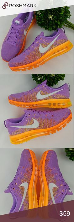 Nike Flyknit Air Max Womens shoes Atomic Purple Nike Flyknit Air Max Womens Sneakers Atomic Purple/White - Total Orange Feature Flyknit technology on the upper With a standout design, bold colors Flyknit technology cuts the bulk of traditional uppers Featherweight design that supports the foot Air Max technology offers a plush, responsive ride. In excellent condition. Worn once.  Size 12 29 cm Nike Shoes Athletic Shoes