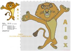 Alex the lion Madagascar cartoon movie character free cross stitch pattern download
