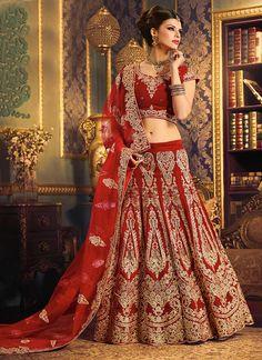 Red Velvet Bridal Lehenga Choli