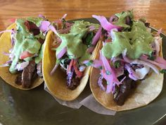 Back by popular demand!! Steak Tacos  w/ Pico Aji Slaw  Poblano crema 3 for 9.50$ At Boca 31 @boca31.denton  #boca31 #chefandresmeraz #dentonslacker #dealoftheday #lunchspecial #denton #dentontexas #dentontx #dentoning #wedentondoit #wddi #unt #twu #dentonite #doingitdenton #dentonproud #discoverdenton