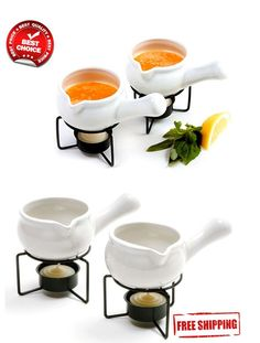 2x Ceramic Butter Warmers Dish Stands Set Pan Pot Seafood Sauce Dipping Topping #NORPRO