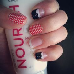 madeline, poppy and white polka, white tips on clear http://laurenhinson.jamberrynails.net/
