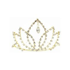 Kate Marie 'tari' Rhinestone Crown Tiara Hair Pin in Gold ($14) ❤ liked on Polyvore featuring jewelry, brooches, jewelry & watches and yellow