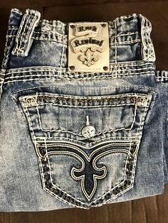 745ac6e87049 Details about Rock   Republic Rebellion Men s Boot Blue Jeans - Size 31 x  32 - Cotton
