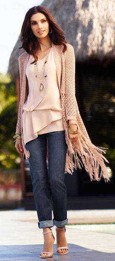 Fringe benefits: A little bit of shine and a whole lot of fringe take this perfectly-pink knit from lovely to luxurious. ♡♡♡