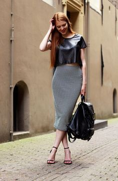 Pencil Midi And Leather Crop Top 2017 Street Style