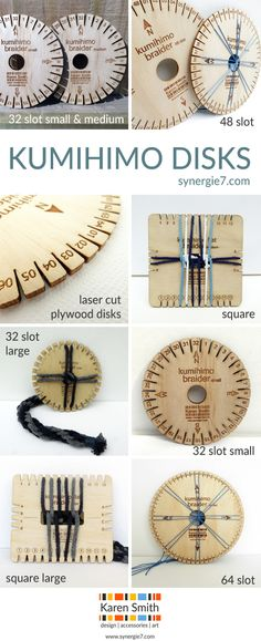 I design all of my Kumihimo disks using CAD software, and then cut them out on my laser cutter. I always enjoy using tools made from wood, and find the lightness of the plywood combined with it's rigidity works well for braiding.