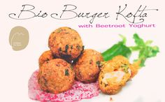 BioBurger Kofta with beetroot yoghurt dressing. see the recipe video at www.nicholsonfinefoods.com.au