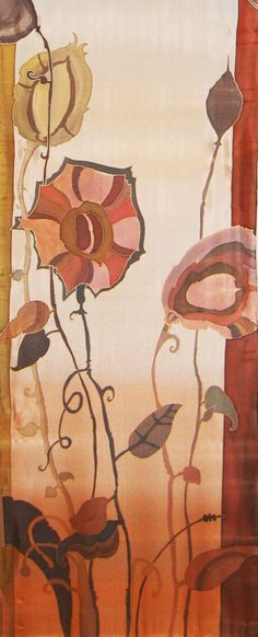 Silk Scarf Rust Ocher and Heather Gray Hand Painted Floral