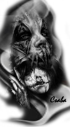 ideas dark art tattoo sketch - My list of best tattoo models Creepy Tattoos, Creepy Drawings, Badass Tattoos, Skull Tattoos, Body Art Tattoos, Sleeve Tattoos, Tattoo Sketch Art, Dark Art Tattoo, Demon Tattoo